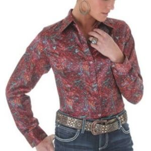 Wrangler Burgundy Charmeuse Western Snap Shirt XL